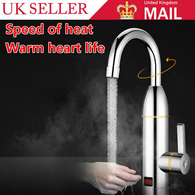 360° Electric Heater LED Faucet Tap Instant Hot Water Bathroom Kitchen Fast Heat