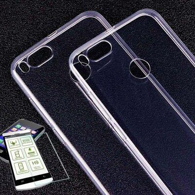 Silikoncase Transparent Tasche + H9 Panzerglas für Xiaomi Mi 5X Mi A1 Hülle Neu