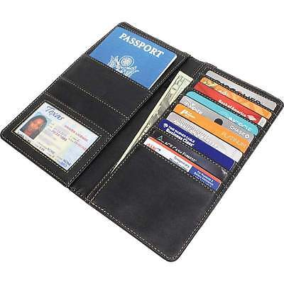 Black Leather Us Passport Cover Organizer Travel Wallet Id Holder Money Case