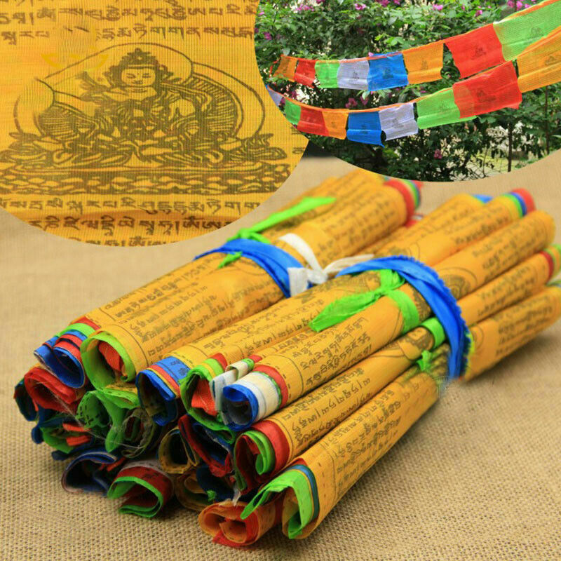 Tibet Buddhist Religious Scriptures Contain 20 Flags Windhorse  Decor 15x25cm