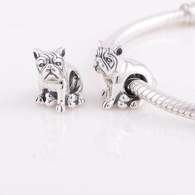 BULLDOG MASTIFF DOG Genuine 925 Sterling Silver Charm Bead Fit European Bracelet