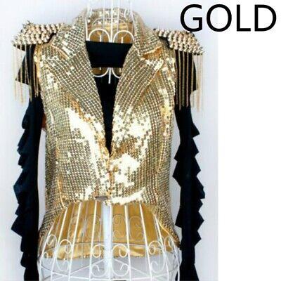 Women Sequin Waistcoat Tuxedo Jacket Sleeveless Tassel Glitter - Tuxedo Dance Kostüme