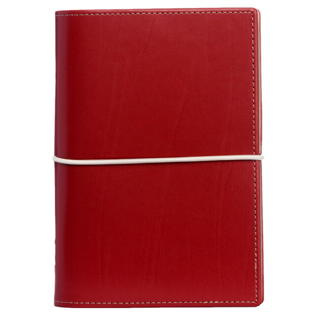 Filofax Domino Personal Organiser Red Smooth Leather-Look Cover Elastic Closure
