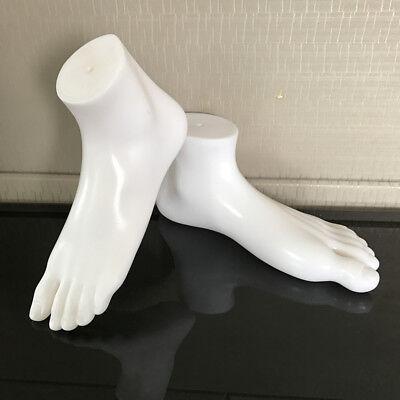 1 Pair New Unisex Feet Mannequin Plastic Stand Socks Torso Dummy Part Foot White