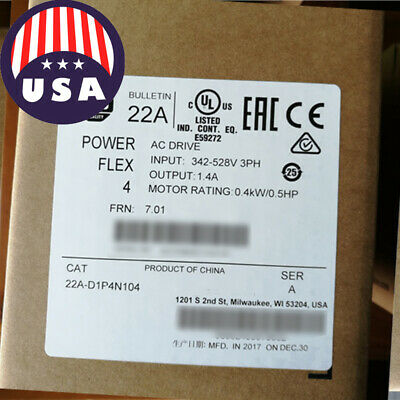 Best Saled Allen-bradley Powerflex 4 0.4 Kw 0.5 Hp Ac Drive 22a-d1p4n104 Usa