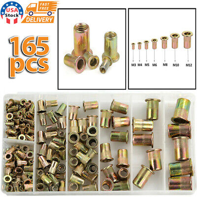 165 Pcs Carbon Steel Rivet Nut Kit Metric Rivnut Nutsert M3 M4 M5 M6 M8 M10 M12