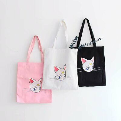 Korea Sailor Moon Hand Bag Shoulder Bag Shopping Luna cat Cos Gift Canvas