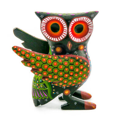 CUTE BLACK OWL Oaxacan Alebrije Wood Carving Mexican Animal Sculpture Painting for sale  Shipping to Canada