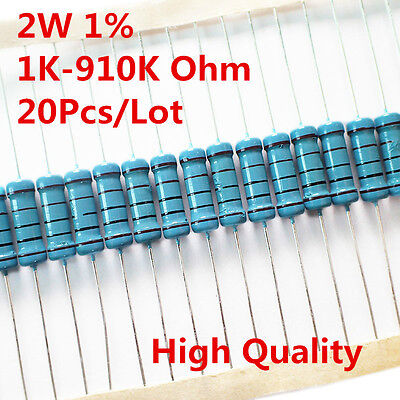 20pcs 2w 2 Watt Metal Film Resistor 1 1k -910k Ohm 1 K - 910 K Free Shipping