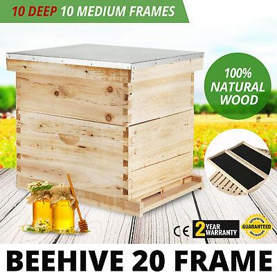 Beehive 20 Frame Complete Box Kit 10 Deep-10 Medium Langstroth Beekeeping