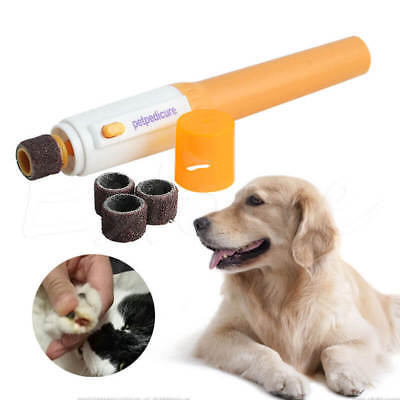Electric Dog Cat Pet Claw Toe Nail Trimmer Tool Care Grooming Grinder Clipper UN