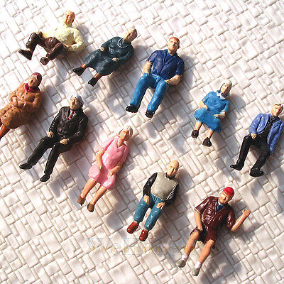 30 pcs Sitting Passengers Seated Figures O scale 1:48 Painted People 10 poses