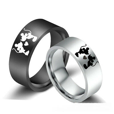 8mm Mickey Mouse Rings Stainless Steel Band Valentine's Day Gifts Size 6-13