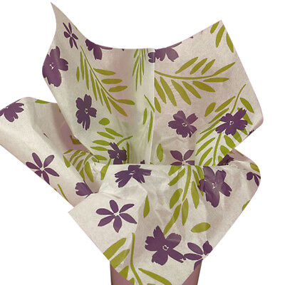 Purple Passion Blossom Flowers Floral Tissue Paper Gift Wrapping 20
