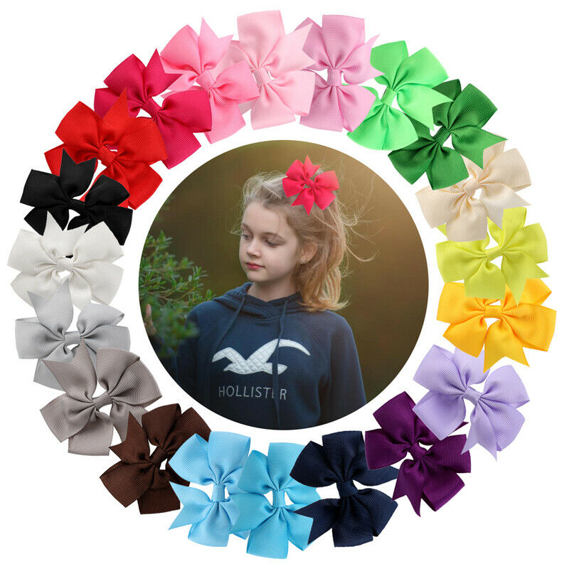 "40 Pcs Baby Girls Kids 3.5"" Grosgrain Ribbon Boutique Hair Bows Alligator Clips"