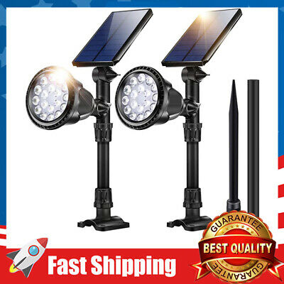 2 Pack Cool White Outdoor Solar Lights 18 LED Spotlight Waterproof Security Lamp