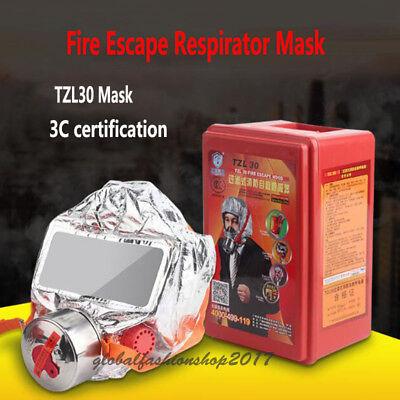 Emergency Escape Hood Oxygen Mask Respirator 30 Minutes Fire Smoke Toxic Filter