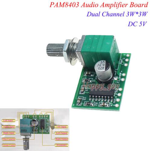 PAM8403 DC 5V 2*3W Dual Channel Audio Amplifier Mini Amp Board Volume USB Power