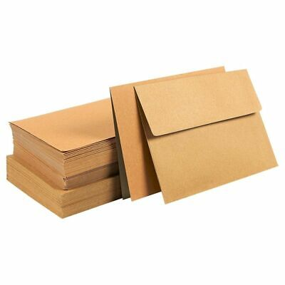 50 Sheets Blank Note Brown Half Fold Greeting Card with Envelopes, 7