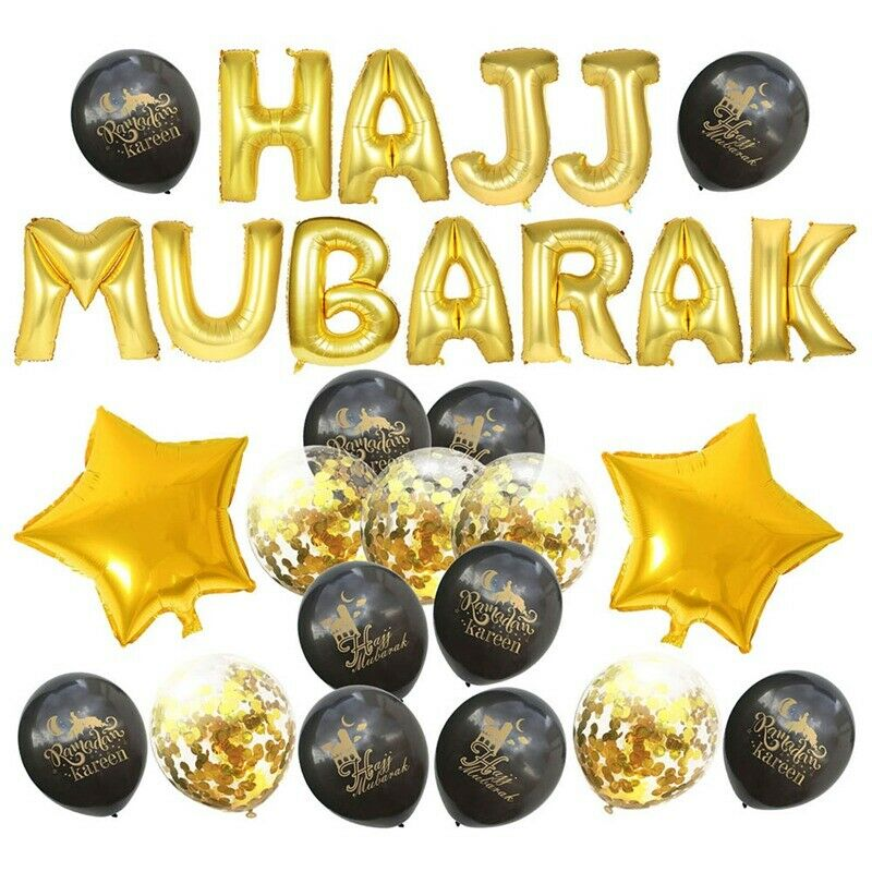 Eid Mubarak Foil Balloons Banner Decorations Home Decor Rose Gold Gold /& Silver
