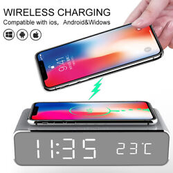 LED Electric Alarm Clock W/Wireless Phone Charger Digital Thermometer HD Clock w
