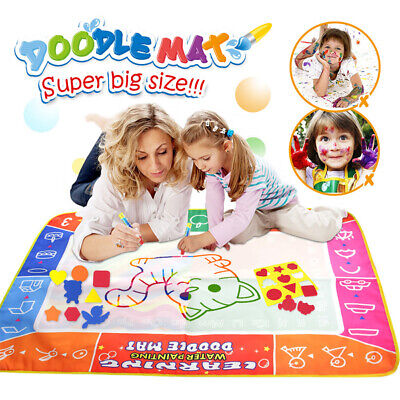 Kids Water Drawing Aqua Doodle Home Mat Pad Painting Board Magic Pen Toys Gift