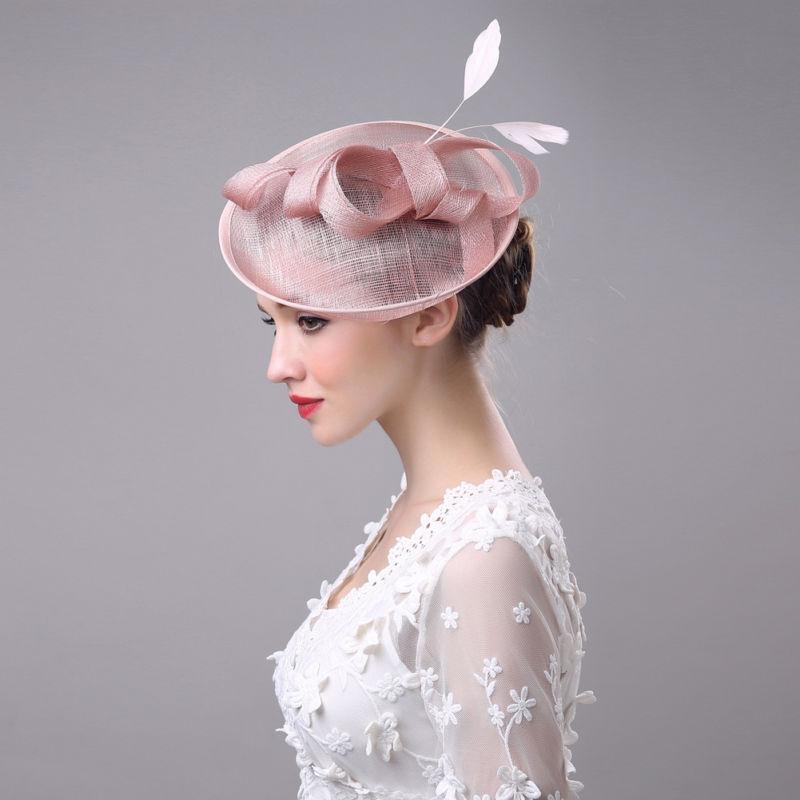 Women Wedding Party Hat Retro Feather Tulle Formal Party Hats Cambric Church Cap