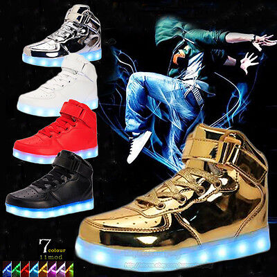 Unisex High Top 7 LED Light Up Shoes Lace Up Sportswear Kids Luminous Sneakers