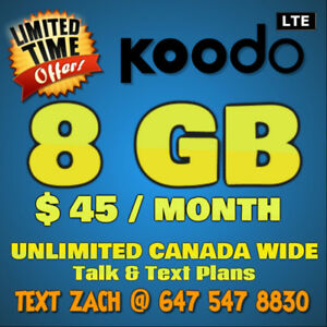 ⭐LIMITED TIME FIRESHOT KOODO PLANS- 8GB / $45 Monthly⭐OTT