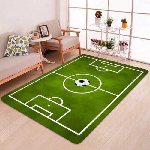 Kinderteppich Spielteppich Jungen Kinderzimmer Teppich Fußball Fußballplatz grün