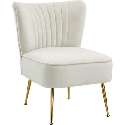 Meridian Furniture Tess Cream Velvet Accent Chair with Gold Legs