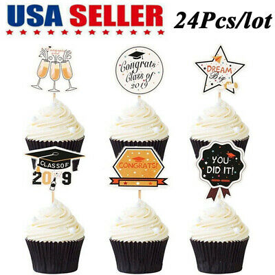 24Pcs Cake Cupcake Toppers Props  Food Sticks 2019 Graduation Party Decor Supply