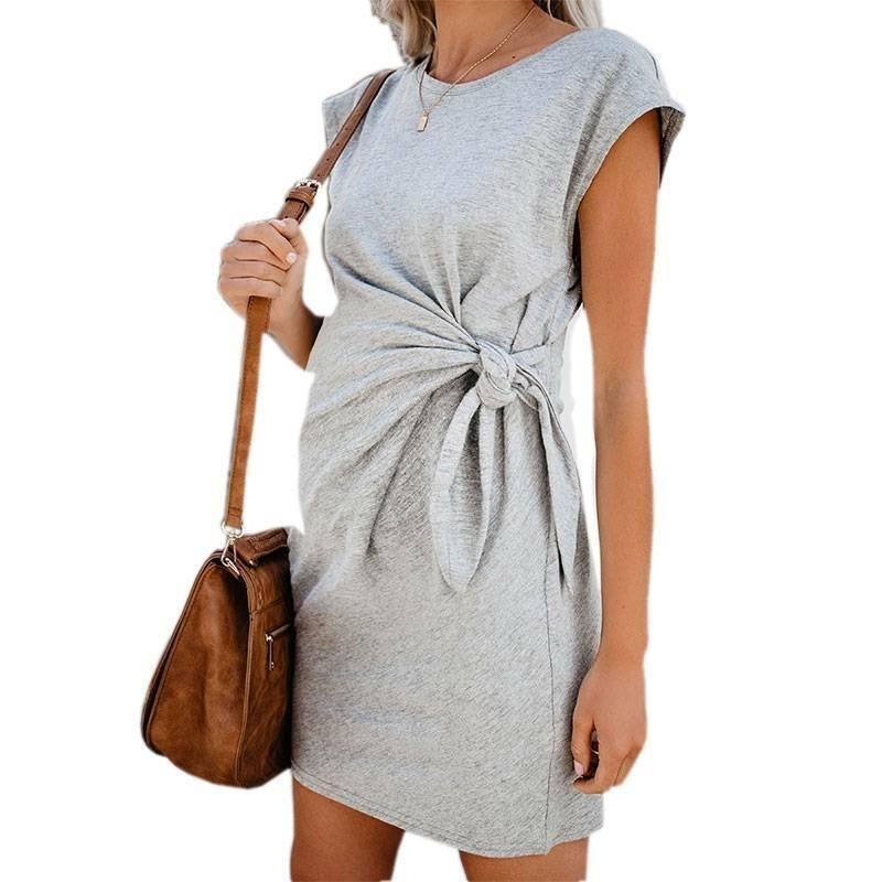 IFFEI Mutterschaft Stillkleid f/ür Frauen Stillen Schwangerschaft Polka Dot Kurzarm V-Ausschnitt Midi Kleid