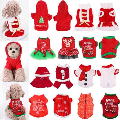 Pet Dog Puppy Santa Shirt Christmas Party Dress Clothes Warm Jacket Coat Apparel