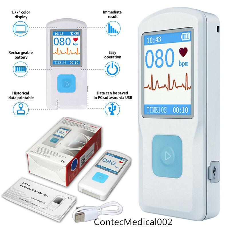 Bluetooth USB Protable Mobile ECG/EKG Recorder Cardiac Monit