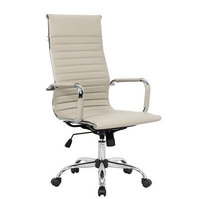 Leisuremod Harris High Back Leatherette Executive Swivel Office Chair In Tan