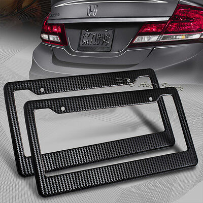 2 x JDM Black Carbon Look License Plate Frame Cover Front & Rear Universal 1