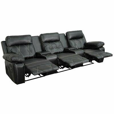 Pemberly Row 3 Seat Leather Reclining Home Theater Seating in (Home Theater Furniture)