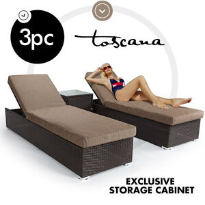 NEW Bio Wicker Rattan Outdoor Furniture Sun Lounge Setting Pool Patio Set