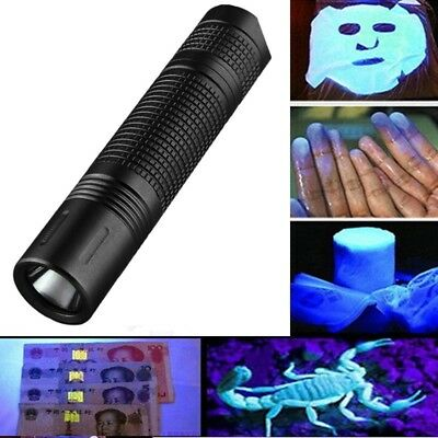 365nm Zoomable LED UV Flashlight Torch Light Ultra Violet Jade Cosmetic 14500/AA