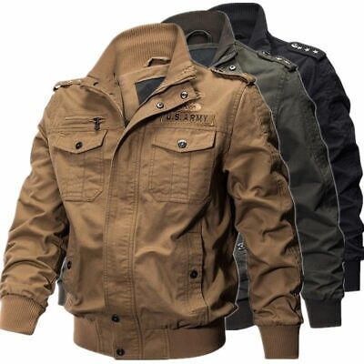 Men's Military cotton jackets casual collar bomber jacket coat parkas outwear ()