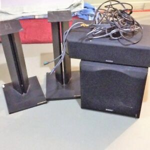 """12"""" Sub, Center Speaker, Speaker stands and cables"""