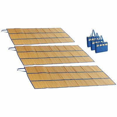 3er-Set faltbare Bast-Strandmatten mit Tragegriffen, 180 x 90