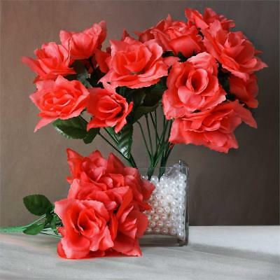 Coral Wedding Centerpieces (84 Coral SILK OPEN ROSES Wedding Discounted Flowers Bouquets Party)