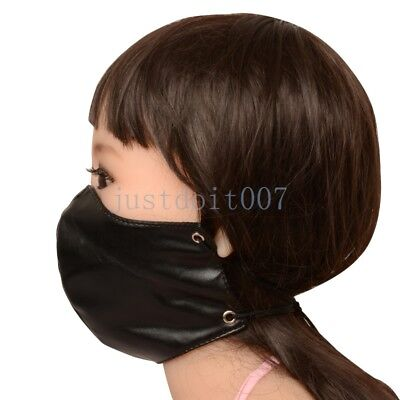 Lacing Slave Mask Soft PU Leather Half Face Hood Harness Head Mouth Restraint Leather Half Harness