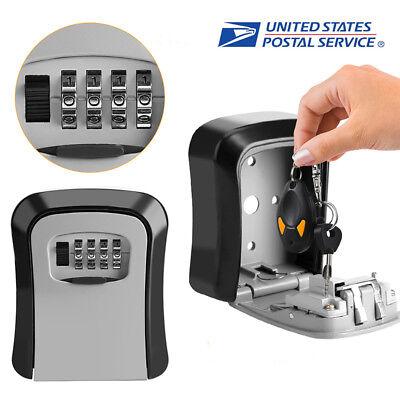 4 Digit Combination Hide Key Lock Box Wall Mount Security Storage Case Organizer