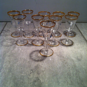 GOLD RIM STEM WARE AND SERVING PIECE COLLECTION