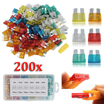 200 x Fusible standard 19mm Lame Assortiment Set Auto Voiture Kit Box 5-30A Amp