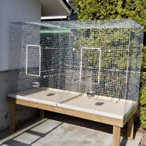 Custom Flight Cage, Feeders, Perches, Nests