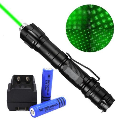 Astronomy Green Laser Pointer 50Miles 532nm Pen Belt Clip Xmas+18650Batt+Charger